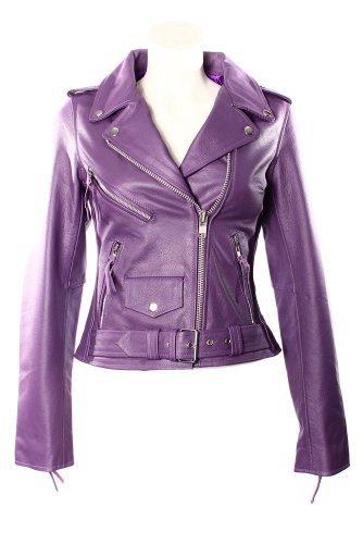 Smart Range Women's Brando Classic Motorcycle Motorbike Genuine Cowhide Leather Jacket 16 Purple