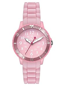 s.Oliver SO-2761-PQ - Reloj analógico para niña de silicona rosa