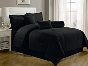Chezmoi Collection 7-Piece Hotel Dobby Stripe Comforter Set, Queen, Black