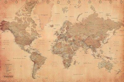 (24×36) World Map (Vintage Style) Art Poster Print image