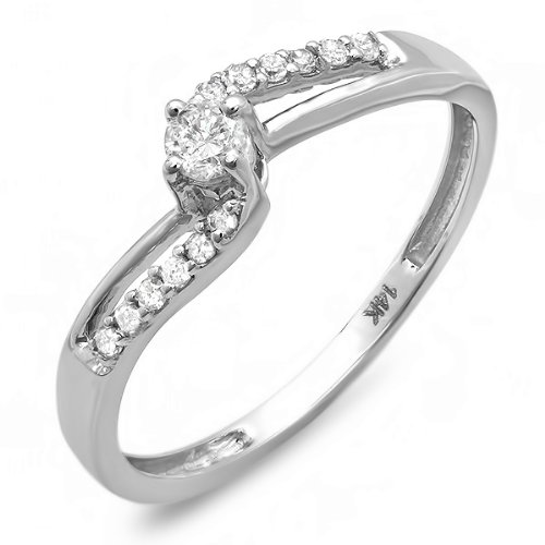 0.20 Carat (ctw) 14k White Gold Round Diamond Wave Ladies Bridal Promise Engagement Ring 1/5 CT