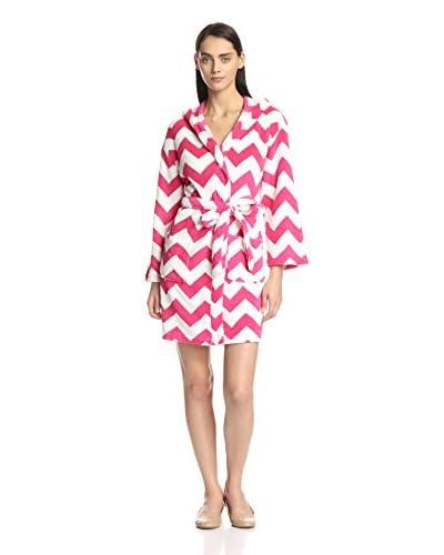 Aegean Apparel Women's Chevron Print Plush Robe with Hood