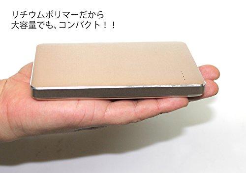 【Amazon.co.jp限定】SMILE WORLD 10,000mAh 大容量 薄型 モバイルバッテリー 2USBポート同時充電可能 リチウムポリマー電池使用 iPhone/Android/Xperia/各種スマホ/タブレット 等 対応 メタルゴールド SWA-1-GL