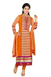 Heena khan orange colored dress material
