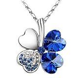 Swarovski Elements Blue Crystal Four Leaf Clover Love Heart Pendant Necklace