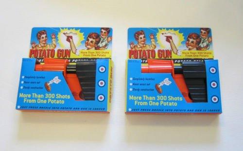 2 NEW POTATO GUNS CLASSIC KIDS TOY PISTOL POTATOE SPUD LAUNCHER GUN GAG GIFT (Potato Guns compare prices)