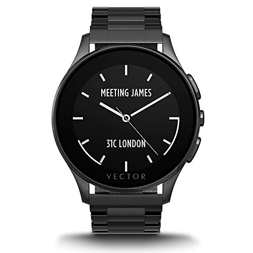 Vector Watch Luna Smartwatch-30 Day+ Autonomy, 5ATM, Notifications, Activity Tracking - Black Case/ Black Bracelet-Elegant (Black Watch Of Canada compare prices)