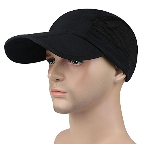 Ezyoutdoor Waterproof Collapsible Motion Hat Fishing Jungle Hat Outdoor Sunscreen Baseball Cap Long Brim Cap Fishing Hat for Fishing Hunting Camping Swimming Hiking,One Size Fit Most (Black) (Vented Fishing Hat compare prices)