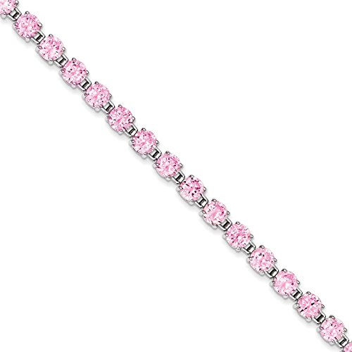 Sterling Silver Rhodium Plated 7.25inch Pink Synthetic CZ Bracelet