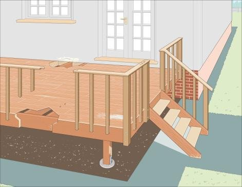 Digital Illustration Showing Areas of Rot in Joists, Wooden Post, and Steps of Neglected Decking - 42