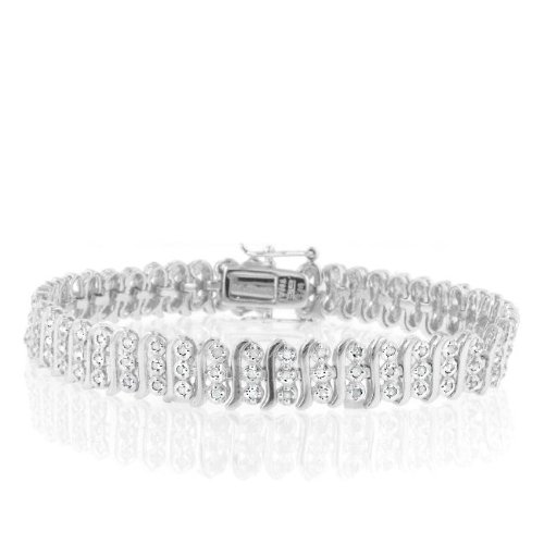 Sterling Silver 1ct TDW Diamond S-Link Tennis