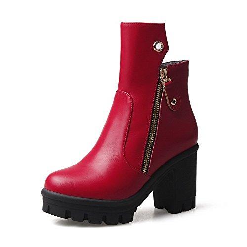 voguezone009-donna-bassa-altezza-puro-cerniera-punta-tonda-tacco-alto-stivali-con-metallo-rosso-37