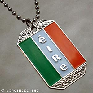 Ireland Flag Pendant Irish Celtic Dog Tag Necklace Eire