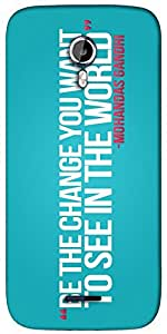 Snoogg Be the Change - Gandhi Designer Protective Back Case Cover For Micromax A117