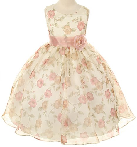 Organza Floral Special Occasion Dress In Vintage Rose Girls - 12