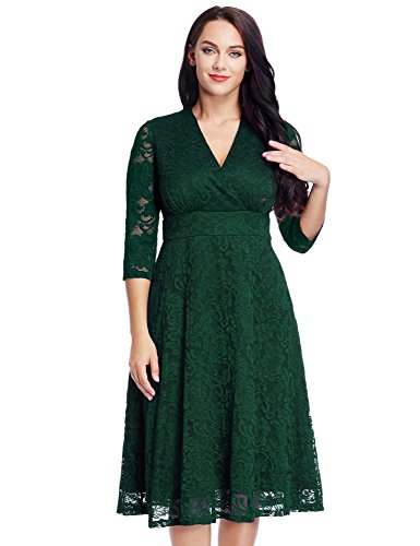 Women's Lace Plus Size Mother of the Bride Skater Dress Bridal Wedding Party Green 20W