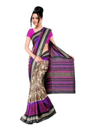 Fabdeal Women Indian Wear Printed Saree Pink  Purple