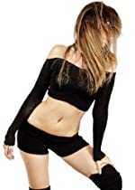 Wine Large Bare Belly Cropped Off Shoulder Sexy Sweater Top by KD dance New York Dance Pilates Yoga Gym Pool Party High Quality Made In USA