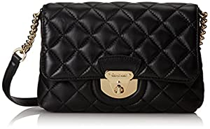 Calvin Klein Quilted Peblle Leather Cross Body,Black/Gold,One Size