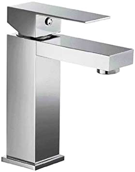 ALFI brand AB1229 Square Single Lever Bathroom Faucet, Brushed Nickel