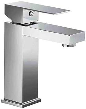 ALFI brand AB1229 Square Single Lever Bathroom Faucet, Brushed Nickel