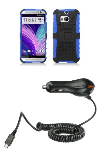 Htc One M8 - Black And Blue Pathfinder Dual Hybrid Armor Case + Atom Led Keychain Light + Micro Usb Car Charger