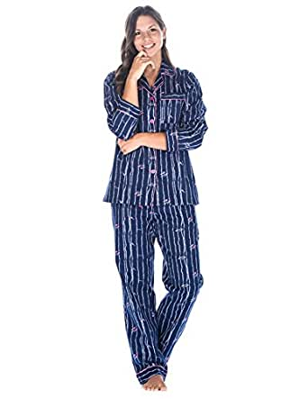 Womens Cotton Flannel Pajama Sleepwear Set - Fish and Kelp Blue - Small