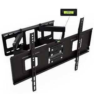 """TecTake Support mural TV max 120 kg universel inclinable et pivotant pour écrans plats Vesa max. 600 x 400 32-65"""" 81-165cm Distance du mur seulement 70 mm"""