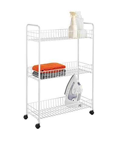 Honey-Can-Do 3-Tier Laundry Cart, White