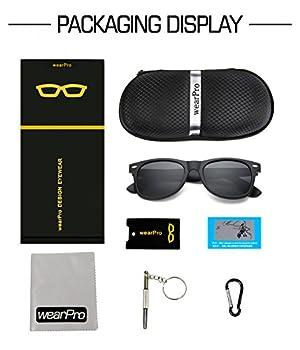 ef7be0ddfb wearPro Wayfarer Sunglasses for Men Women Vintage Polarized Sun Glasses  WP1001(matte black)