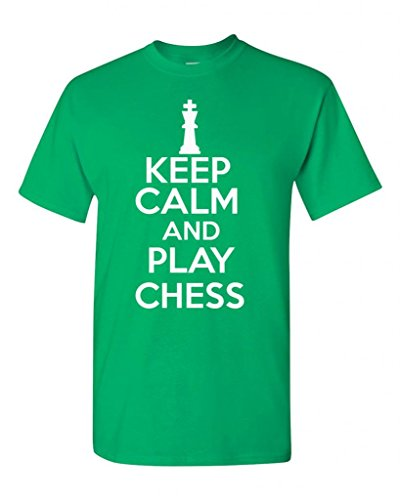 Keep Calm And Play Chess Board Game Novelty Statement Unisex Adult T-Shirt Tee (Small, Irish Green)