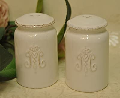 Ceramic Vintage style Shabby Chic Antique White Distressed Salt and Pepper shaker with a Baroque style Motif by Four Seasons Liverpool