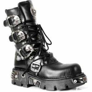 New Rock donna nuovo Rock 1 metallizzato Reactor GoTo per moto t-shirt ltext Negro stivali I, Nero (nero), 41
