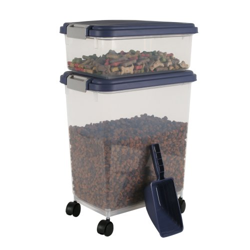Iris Airtight Pet Food Container Combo Kit, Blue Indigo/Gray
