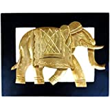 Paheli Craft Antique Rajasthani Pink City Jaipur Unique Traditional Wooden & Brass Handmade Handi Elephant Wall Frame Decorative Gift Item Home / Table / Wall Decor Showpiece / Figurine