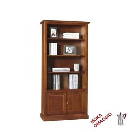CLASSICO libreria legno con 2 ante legno e ripiani per soggiorno e salotto 386 90x41x186