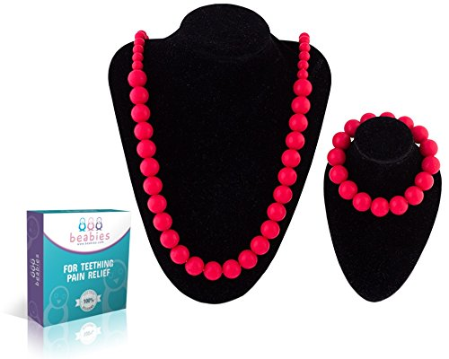 Teething Necklace and Bracelet - BPA-Free & FDA Approved Teether - Soothing Pain Relief for Baby (Red) (Resin Dragon Baby compare prices)