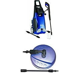 AR Blue Clean AR383 1,900 PSI 1.5 GPM 14 Amp Electric Pressure Washer with Hose Reel and Surface Cleaner Bundle