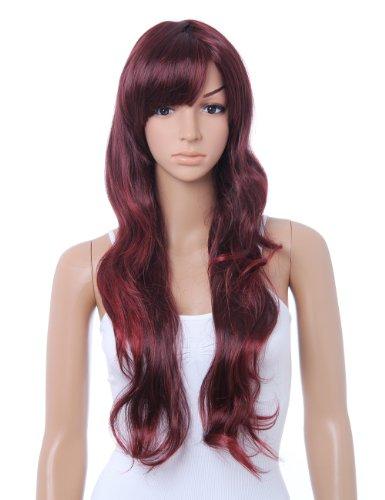Cute Style Long Wavy Wig (Model: Jf010331) (Wine Red)