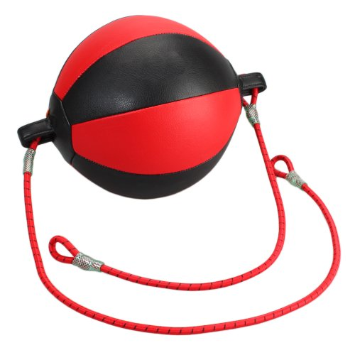 Faux Leather Double End Ended Speed Ball Muay Thai Boxing Punching Bag Training Gear Hanging Ropes Red Black