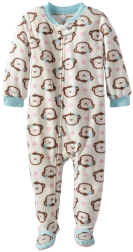 Vitamins Baby Baby-Girls Infant Monkey Print Footed Pajama, Ivory, 12 Months front-795865