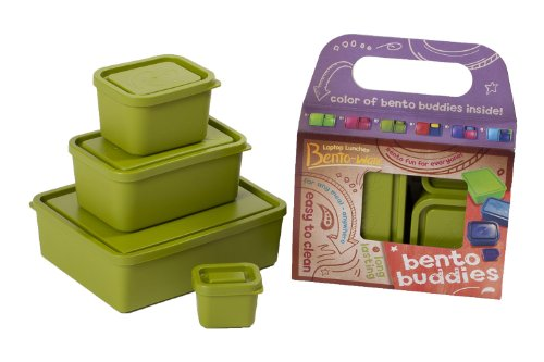 Laptop Lunches Bento-Ware Bento Buddies, 4 Bpa-Free Lunchbox Containers With Leak-Proof Lids, Avocado (B650W-Avocado)