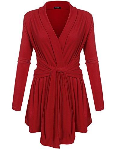 ACEVOG Women's Long Sleeve Open Front Lightweight Drape Soft Cardigan Red Medium