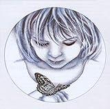 """Stickbild """"Mädchen mit Schmetterling"""", ca. 31 x 30 cm hergestellt von Vervaco"""