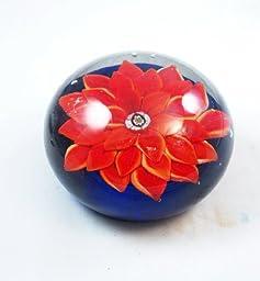 M Design Art Handcraft Red Daisy on Dark Blue Paperweight PW-666 [Kitchen]