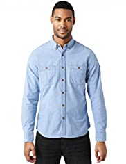 North Coast Pure Cotton Slim Fit Chambray Shirt