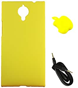 FCS Rubberised Hard Back Case For Gionee Elife E7 With Card Reader And 3.5mm Wide Strip 1 Meter AUX Cable