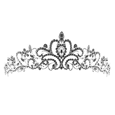 TinkSky Wedding Tiara Rhinestones Crystal Bridal Headband Pageant Princess Crown