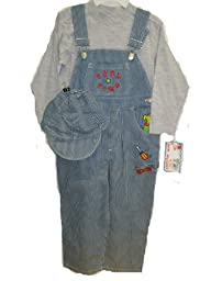 Boys Size 4T Stripe Denim Embrodiery Overall 2-PC Set
