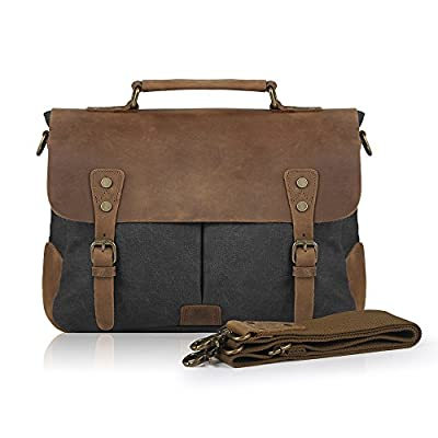 Smriti Vintage Real Leather Canvas Messenger Bag 14-inch Laptop Briefcase